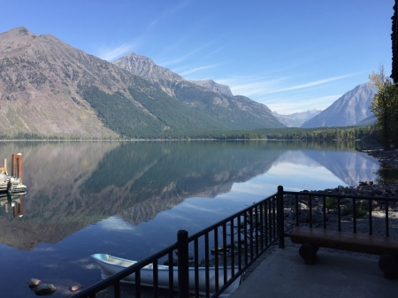 View of McDonald Lake from Lodge lakeside balcony