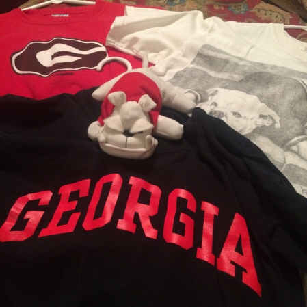 Our official Georgia Bulldogs apparel, all of which I forgot to pack in my suitcase for the game against Vanderbilt
