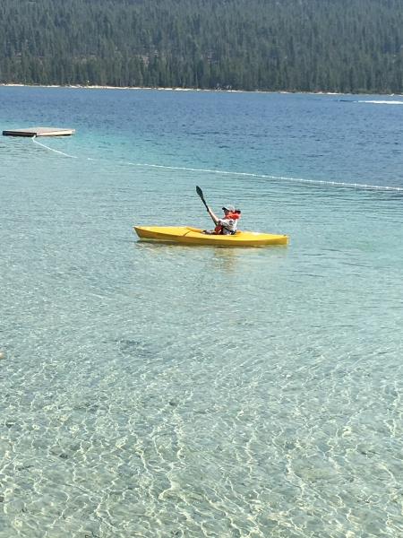 Meredith kayaking on Redfish Lake