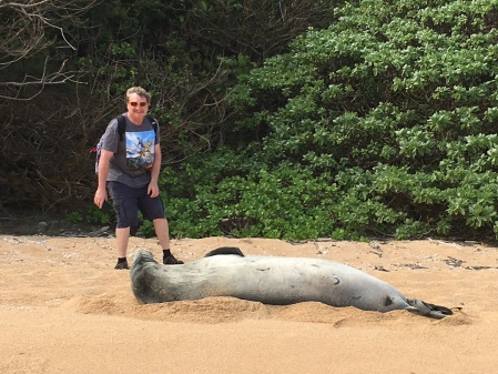 Monk seal spits at Eric